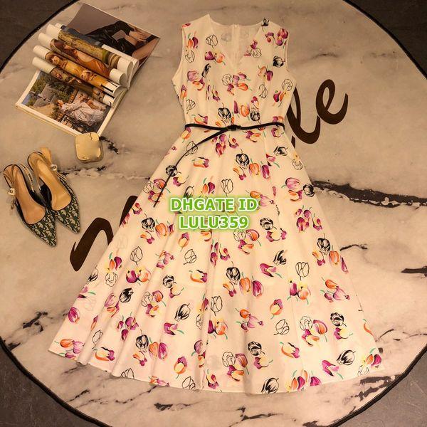 High End Women Floral Cotton Shirt Dress Vest With Rose Casual Print Girls V-Neck Long Dress A-Line Runway Mid-Calf Skirt Milan Dress 2019