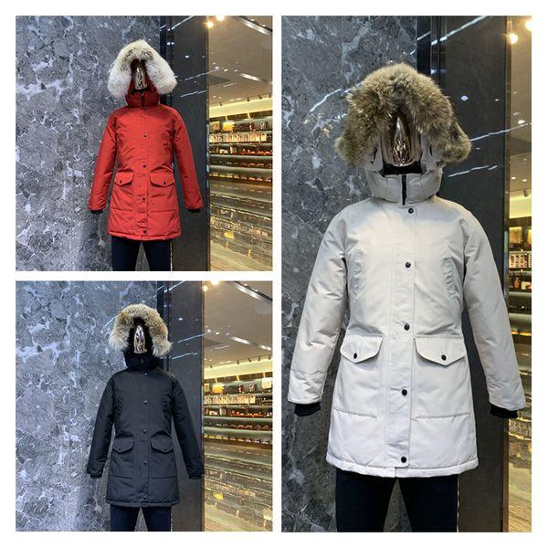 2019 marca para mujer canadiense de Down Parkas nueva caliente gruesa y resistente al agua de la devanadera larga sección delgada color sólido ganso chaqueta de invierno femenina