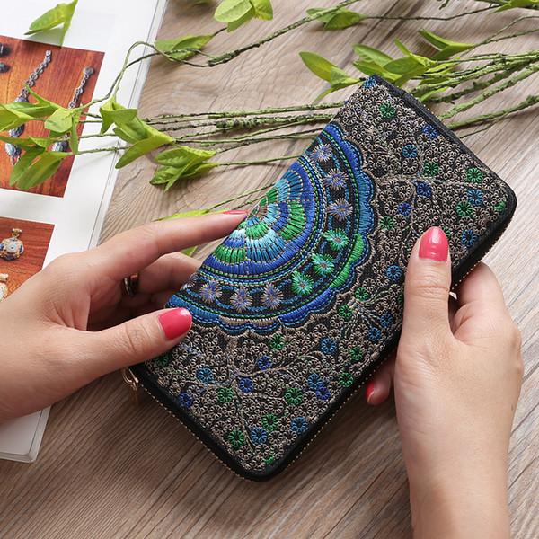 Hohe Qualität Frauen Brieftasche Lange Reißverschluss Stickerei Brieftasche Weibliche Kupplung Handy Große Kapazität Kartenhalter Geldbörse Frau