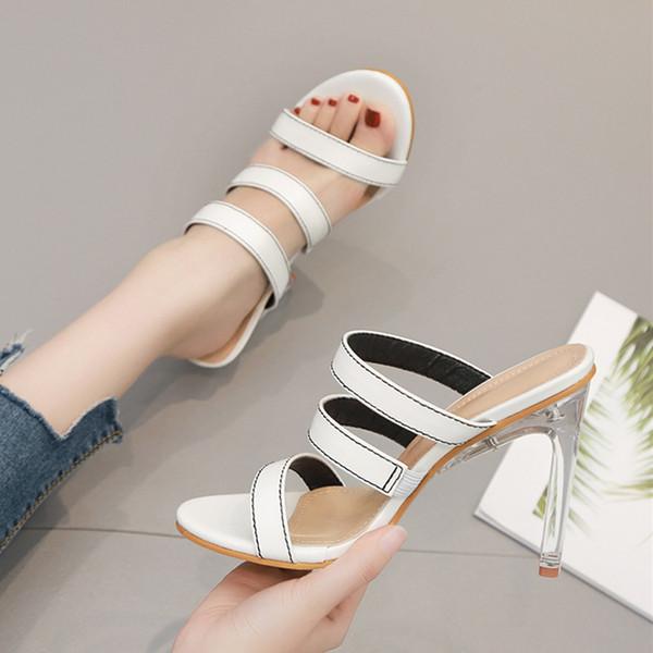 New bride wedding shoes luxury sandal white clear heels designer slipper slides size 35 to 40
