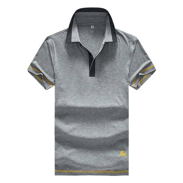 Solapa de manga corta para hombres Escote de punto Costura en contraste Línea amarilla ropa decorativa lado Modelos sueltos salvajes de verano