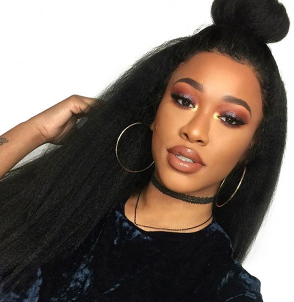 Full Lace Human Hair Wigs Bleached Knots for African American Malaysian Kinky Straight Long Lace Front Wigs 6-28 inch Ping