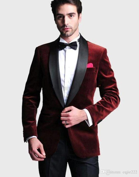 New Handsome One Button Dark Red Velvet Groom Tuxedos Shawl Lapel Groomsmen Best Man Wedding Prom Dinner Suits (Jacket+Pants+Tie) 202