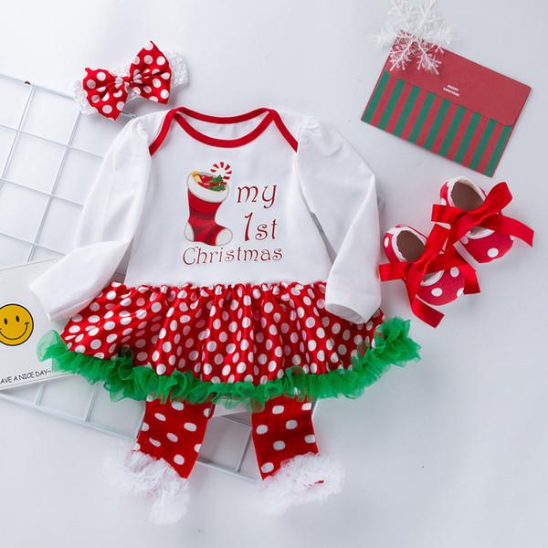 Fashion Dresses For Baby Girls Christmas Socks Pattern Princess Dress Dot Print Casual Tutu Dress Set verkleedkleding kinderen