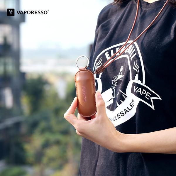 Vaporesso Zero Ledertasche Hochwertige PU-Leder-Tragetasche mit Lanyard Luxusfarbe Braun - VORVERKAUF