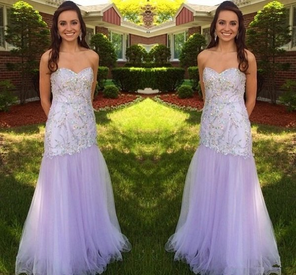 Newest Design Light Purple Prom Dress Special Occasion Dresses Evening Dress Sweetheart Trumpet Mermaid Sweep Train Crystal Crystal Beading