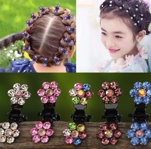 fashion 12pcs/pack Crystal Rhinestone Flower Claw Hairpins Hair Accessories Ornaments Clips Hairgrip For Kids Girl