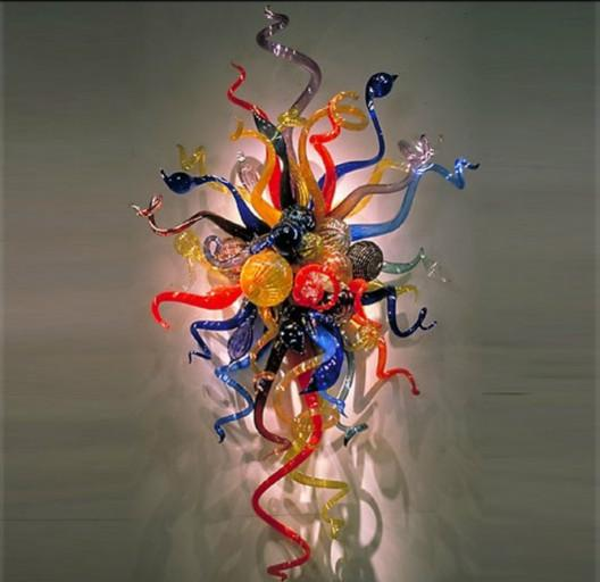Phantasie Multicolor Flower Art Glas Wandleuchte Stil LED leuchtet handgefertigt mundgeblasenem Glas Art Decor Wandleuchten