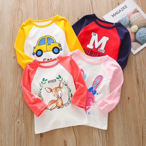 Toddler Boys T-shirt Cotton Tops Baby Girl Long Sleeve Tshirt Kids Tees Cartoon T shirts Children Clothes For 2 3 4 5 6 Years