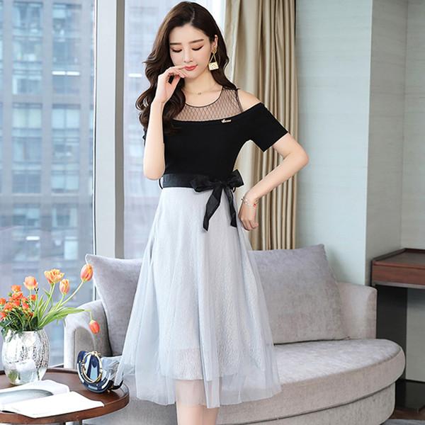 2019 yaz modası yazlık elbise, kişinin ahlakını geliştirmek omuzdan çıkmış seksi beyaz tül şerit yapıştırma leis