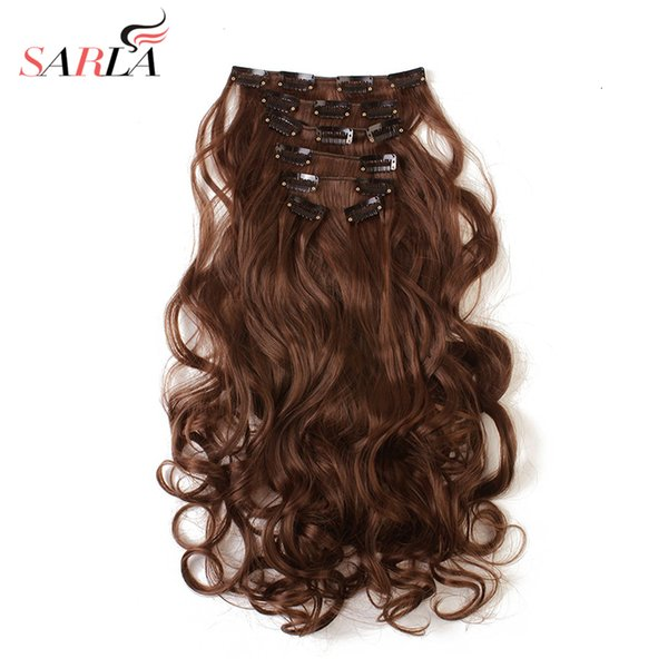 SARLA Long Curly Clip In Hair Extensions 7pcs Set Curl Black Brown Grey Heat Resist Synthetic Hairpieces 999 10pcs/lotMX190918