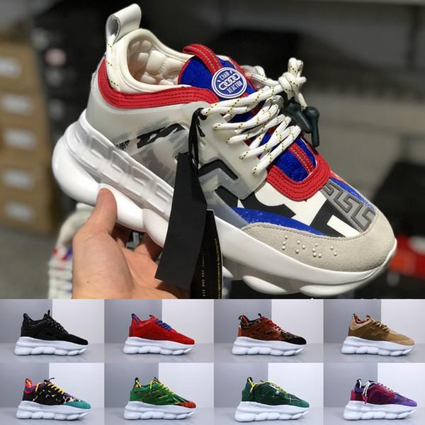 Versace men shoes Nuovo ACE Luxury Chainz Chain Reaction Love Sneakers Sport Fashion designer di lusso Scarpe casual nero Trainer leggero con suola in rilievo