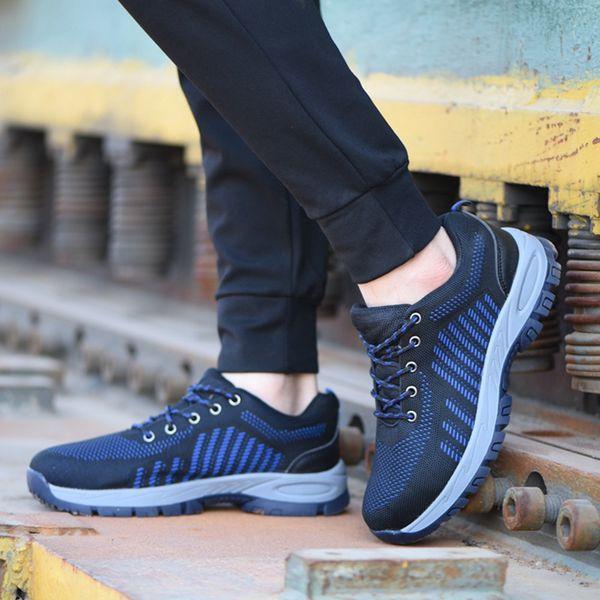 De acero del dedo del pie de trabajo Zapatos que suben de peso ligero y transpirable antideslizante impermeable de zapatos suela de goma de seguridad con cordones de las zapatillas de deporte Industrial