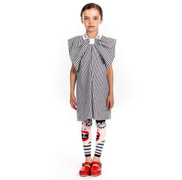 INS Children pantyhose spring new kids cartoon printed leggings girls stripe knitted princess tights children cotton bottom F5415