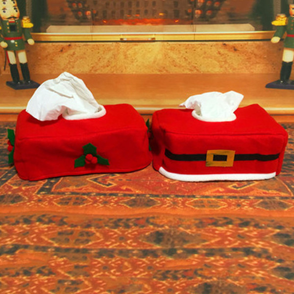 1pc! Christmas Santa Claus Belt Felt Tissue Box Case Home Decoration Vintage Creative Napkin Holders For Paper Towels