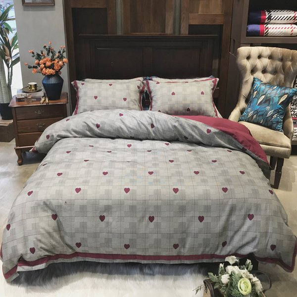 Suede Fabric 4pcs Bedding Set Pure Cotton Thickening Love Pattern Quilt Cover Full Cotton Concise Spelling Color Bed Set Article