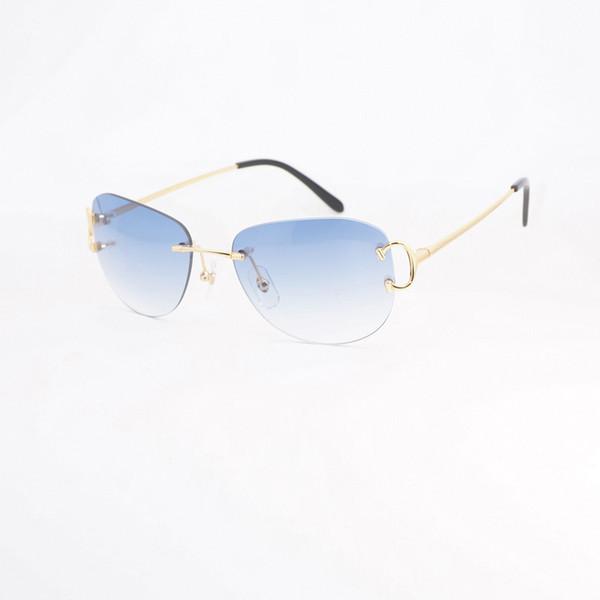1fb0e634c6 Retro gafas de sol ovaladas hombres sin montura gafas de metal marco Shads  para Club al