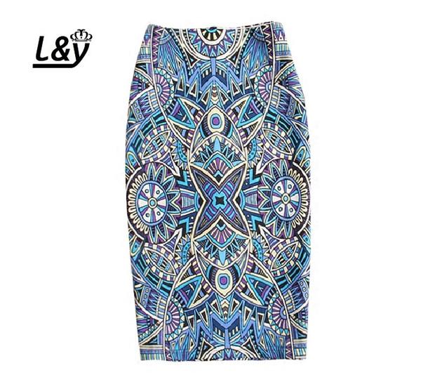 LY Moda Bohemian Impresso Centro de Volta Fenda Saia Lápis Mulheres Elegantes Cintura Alta Stretchly Slim Fit Saias Para senhoras