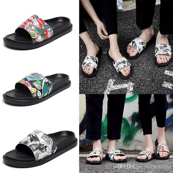 Free shipping Women Slide Summer Korean Fashion Wide Flat Slippery With Thick Sandals Slipper House Stud Flip Flop With Spike For Female