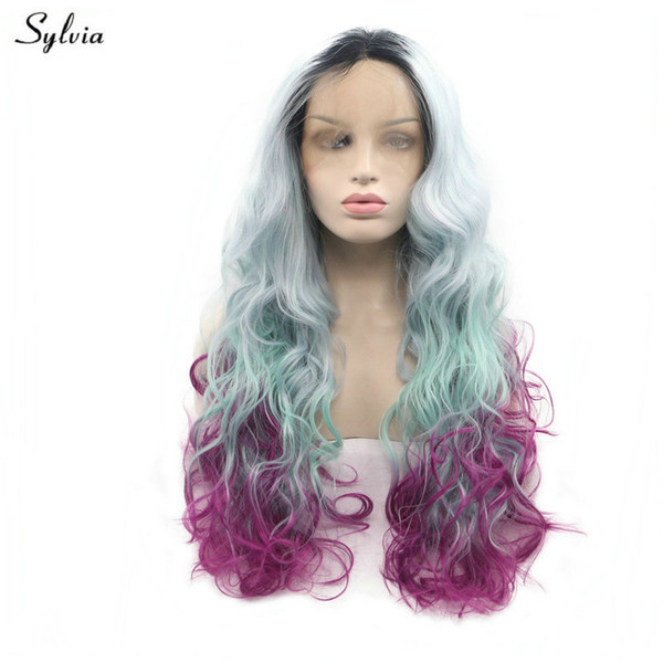 Long Wavy Hair Dark Root Ombre Pastel Blue Green Violet Purple Synthetic Lace Front Wigs For Women Cosplay Drag Queen Wig