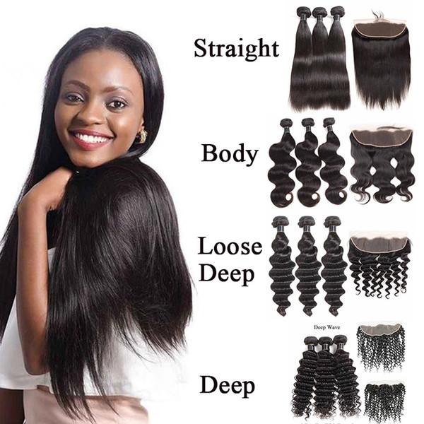 9A Bundles de cheveux humains de vague de corps d'eau profonde brésilienne droite avec fermeture de dentelle ou 13x4 frontale pas cher brésilienne Vierge Extensions de cheveux