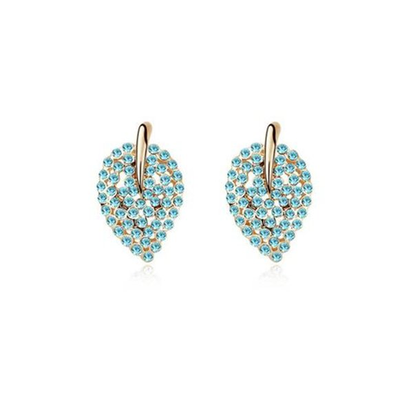 Ms Betti  stud earrings for bridal and girls leaf shape Czech crystals for Wedding gifts Bijoux drop ship