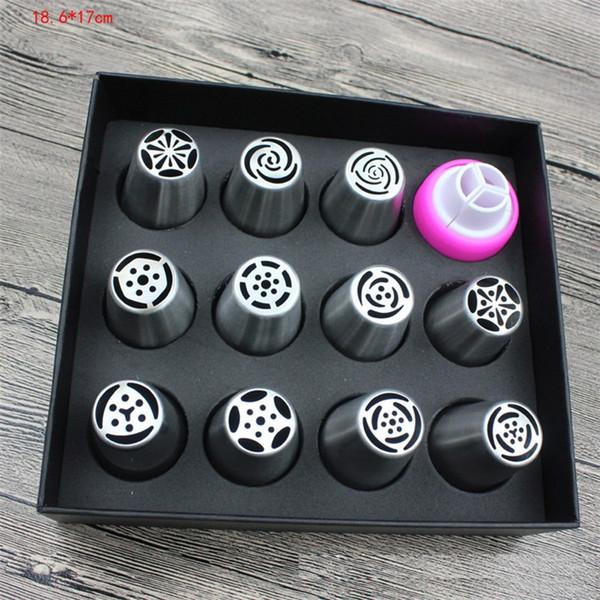 뜨거운 판매 러시아어 한 조각 꽃 커플러 T9I00210 입을 304 스테인리스 스틸 대형 케이크 노즐 케이크 베이킹 도구 설치