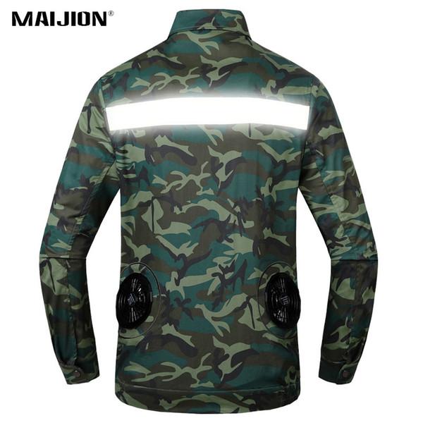 Heatproof reflexivo Cooling Jacket Fan Homens Mulheres Trabalho ao ar livre Ar Condicionado Roupa Camouflage Caminhadas Jaquetas de pesca