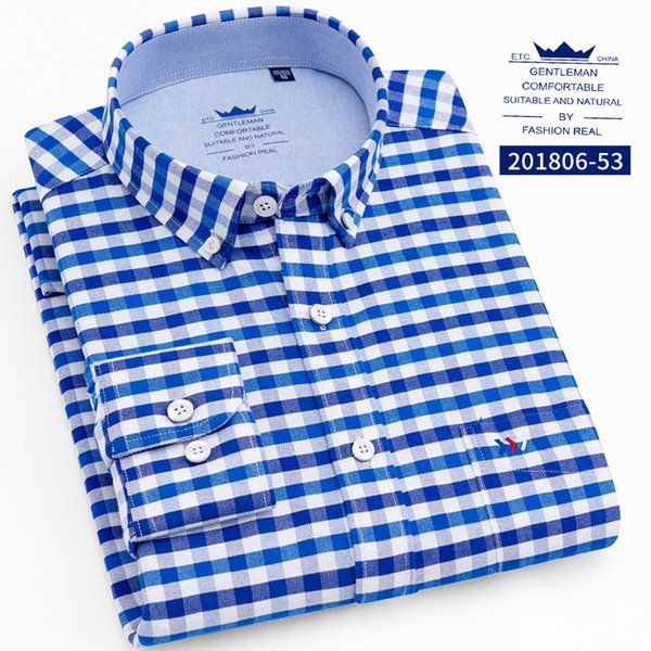 8 Colors New Hot Spring and Autumn Man Cotton Oxford Long-sleeved Square Collar Big Striped Shirt Youth Men's Clothing WY0004