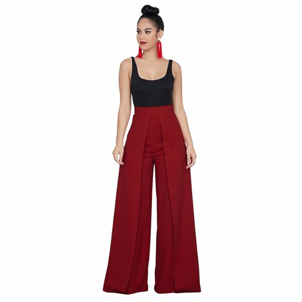 c90268f5e93 New women s trousers boot loose red white blue black pleated flare rufffles  pants high street zipper fly trousers for ladies