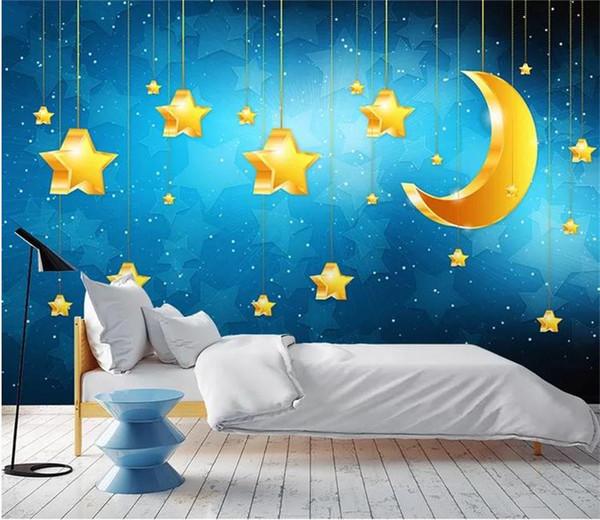 Tamanho personalizado 3d foto papel de parede mural crianças quarto azul estrelada lua estrelas dos desenhos animados 3d imagem sofá pano de fundo papel de parede mural não-tecido adesivo