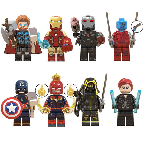 8pcs Avengers 4 End Game Mini Toy Action Figure Super Hero Superhero Iron Man Nebula War Machine Figure Building Block Bricks For Children