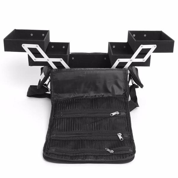 New 3 Trays Big Cosmetic Makeup Case Organizer Jewelry Storage Nail Tech Train Case Multi-Function Black Makeup Bag Makeup Tool