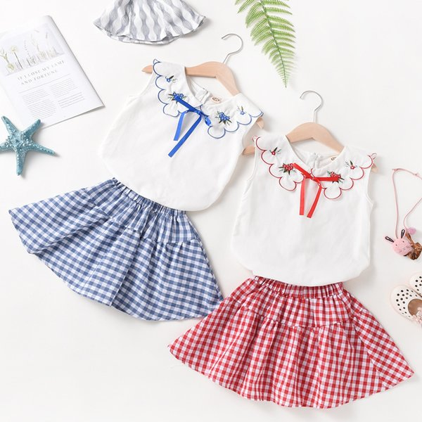 Zhongda girls thin section new style high quality children's clothing small fresh doll collar sleeveless vest A word skirt suit