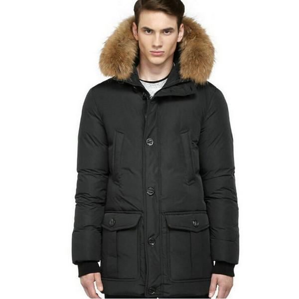 Mam04 Parka Homme manteaux en duvet avec capuche réel Raccoon avec bordure en fourrure Parka manteau d'hiver Bouton Fermeture éclair Veste