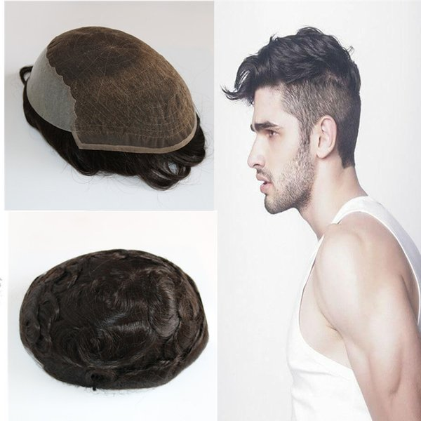 Human Hair Toupee French Lace Toupee For Men Front Lace With Poly Back Mens Toupee Replacement System 8x10 inch Men Hair Bleached Knot