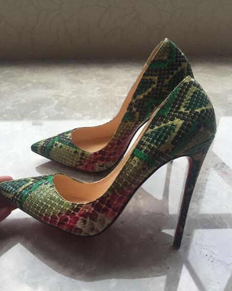 Черный Женщины Насосы змейки обувь WOMA Остроконечные Toe Высокие каблуки обуви Роскошная Свадьба Свадебная обувь Sexy Высокие каблуки 35-44