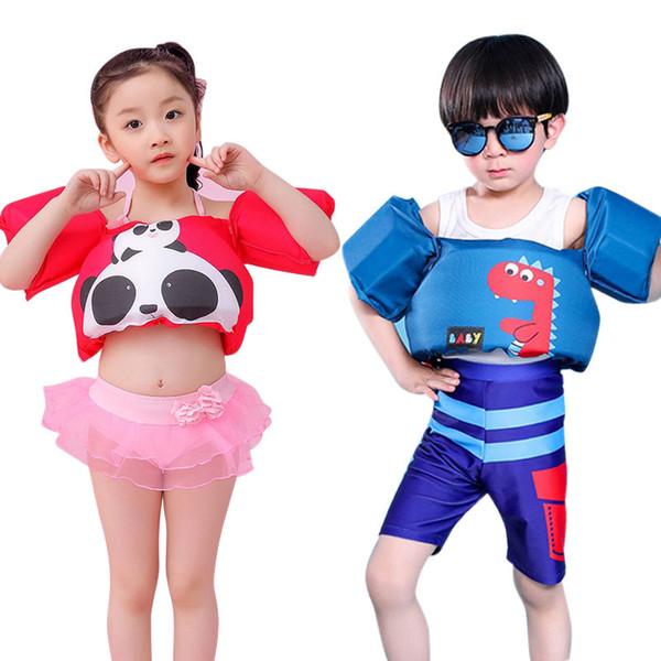 Venda imperdível! Anel de Braço Do Bebê bonito Salvar Colete Swimwear Padrão Dos Desenhos Animados 2-8Y BoyGirl Swimsuit Kid Crianças Segurança Espuma de Natação Terno