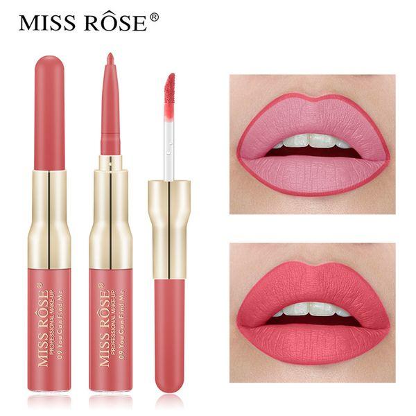 2019 nouvelle arrivée MISS ROSE 2 en 1 double tête brillant à lèvres avec doublure Maquiagem maquillage rouge à lèvres mat hydratant imperméable à l'eau glaçage à lèvres
