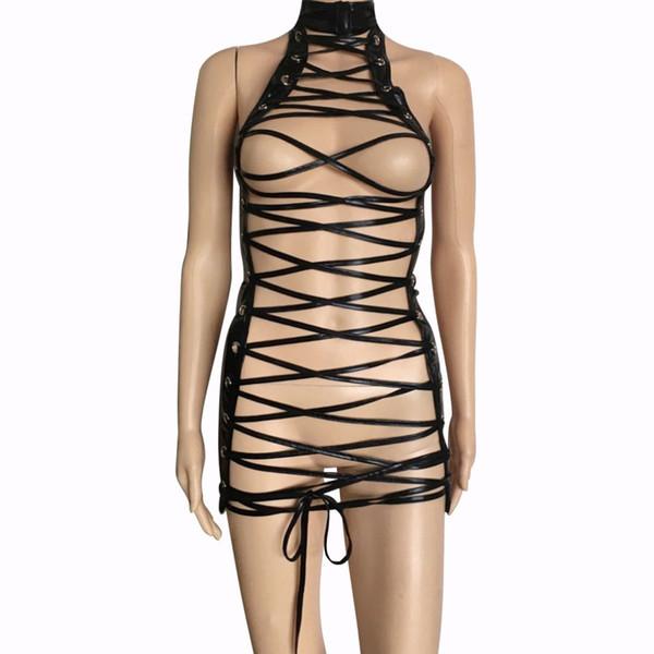 Mujeres sexy Faux Leather Strappy Cage Abra el pecho del cuerpo Arnés Vendaje Mini vestido Fetish Juego de rol Body Traje de restricción