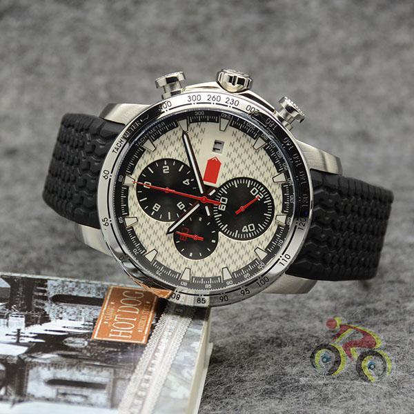 Esfera blanca reloj 48MM luminoso grande para hombre Chop relojes de cuarzo Cronómetro Funtion maravilloso reloj de la correa de la pisada del neumático de goma hombre de pulsera