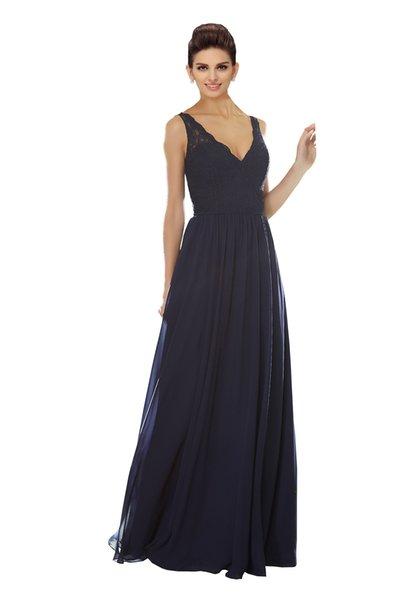 2019 Designer Bridesmaid Dresses Long V-neck Open Back Lace Draped Chiffon Wedding Dresses For Guests Party Dress Formal Gowns Maid Of Honor