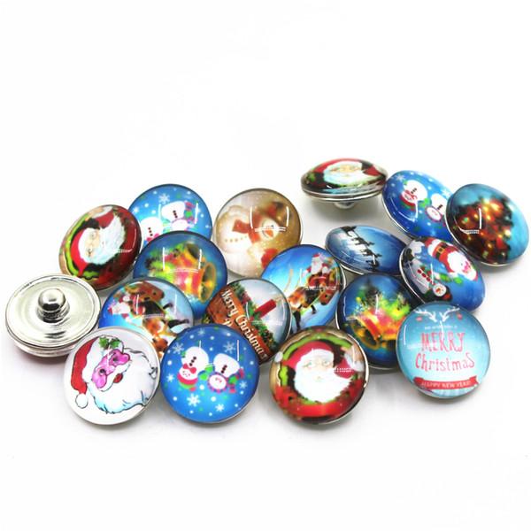 2018 New arrive 10pcs/lot Mix Random Christmas Snap Buttons Fit 18mm Glass Snap Bangle Bracelets Diy Jewelry Buttons Charms