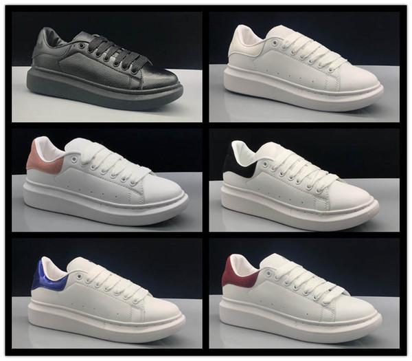 Alexander McQueen 2019 Top Alexander 3M reflektierende weiße schwarze Leder-Outdoor-Schuhe für Mädchen, Frauen, Männer, Rosa, Gold, Rot, Mode, bequeme flache Turnschuhe 35-43