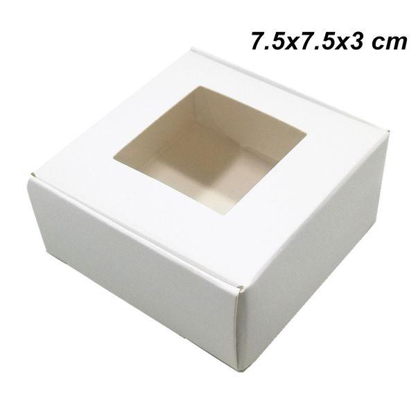 30 STÜCKE 7,5X7,5X3 cm Weiß Handwerk Papier Geschenk Verpackung Box mit Klaren Fenster DIY Handgemachte Seifenkästen Kraftpapier Hochzeitstorte Cookies Schokolade