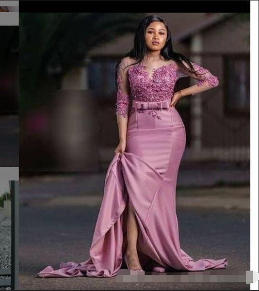 Saudi Arabic Mermaid Evening Mother of the bride Dress Satin Applique 3/4 Sleeves Party Prom pageant Dress Plus size