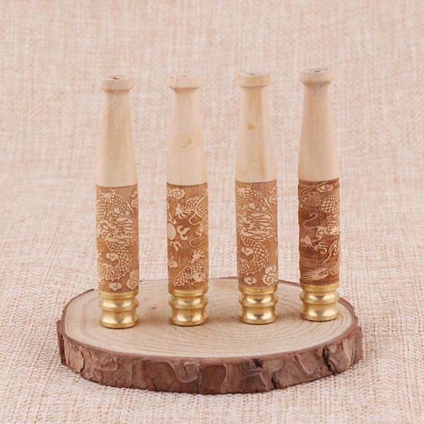 Panyang madeira esculpida dragão solid madeira piteira removível titular filtro de cigarro de cobre