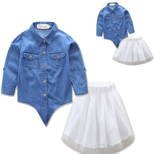 Mother and daughters dresses outfits 2pc set denim shirt+white lace skirt 2-7T kids family matching clothing
