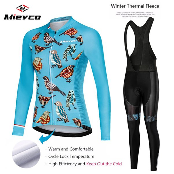 2020 Winter Black Thermal Fleece Long Sleeve and bib pants Cycling Jersey for winter Ride Cycling