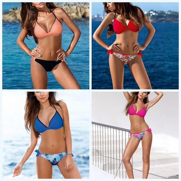 Sexy Bikini Dividir Swimwear corpo Suit Mulheres Anti Deslizando Sandy Beach Verão Multi Color Moda flexível 27fsf1